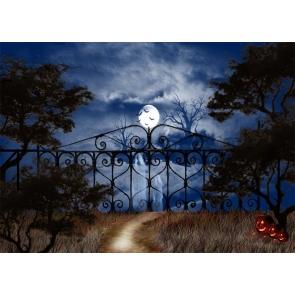 Terror Ghost Scary Pumpkin Moon Dark Forest Halloween Party Backdrop