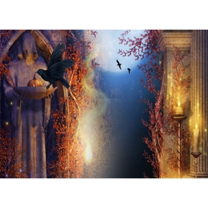 Medieval Building Crow Theme Halloween Backdrop Studio Stage Photography Background