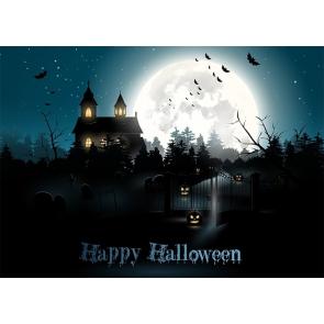Dark Night Full Moon Graveyard Scary Pumpkin Halloween Party Backdrop Photography Background