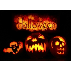 Dark Night Flame Candlelight Pumpkin Theme Halloween Party Backdrop Photography Background