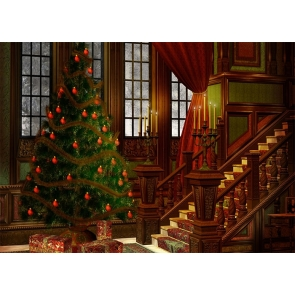 Medieval Building Christmas Tree Backdrop Stage Photo Booth Photography Background