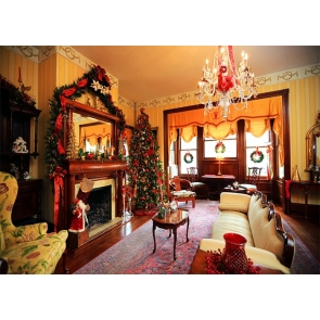 Indoor Living Room Fireplace Christmas Tree Backdrop Stage Photo Booth Photography Background
