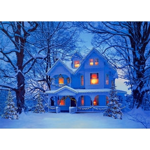 Winter Snow Covered Villa Christmas Scene Backdrops Stage Photo Booth Photography Background