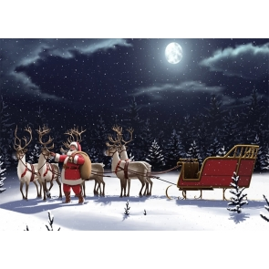 Santa's Reindeer Sled Christmas Scene Backdrops Stage Photo Booth Photography Background