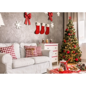 Indoor Living Room Christmas Tree Backdrop Stage Photo Booth Photography Background