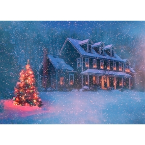 Winter Snow Covered Villa House Christmas Tree Backdrop Stage Photo Booth Photography Background