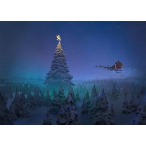 Santa's Reindeer Sled Fly Towards Christmas Tree Stage Backdrop Photo Booth Photography Background