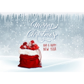 Snowflake Santa's Gift Bag Happy New Year Merry Christmas Backdrop  Party Photography Background