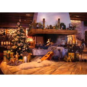 Christmas Tree Fireplace Backdrop Stage Photo Booth Photography Background