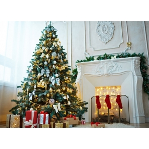 Fireplace Christmas Tree Backdrop Stage Party Photography Background