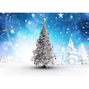 Snow Covered Snowflake Christmas Tree Backdrop Stage Photo Booth Photography Background