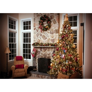 Christmas Tree  Retro Stone Fireplace Backdrop Stage Photo Booth Photography Background