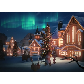 Green Northern Lights Snow Covered Christmas Village Backdrop Stage Photo Booth Photography Background