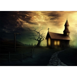 Church Cemetery Backdrop Halloween Party Studio Stage Photography Background