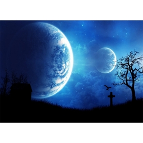 Full Moon Dark Cemetery Graveyard Halloween Party Backdrop Studio Stage Photography Background