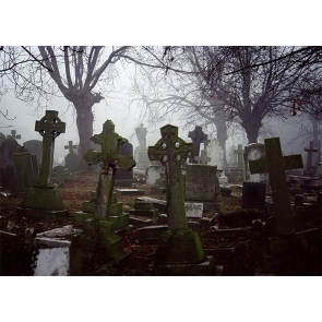 Terrifying Cemetery Scary Graveyard Halloween Backdrop Studio Stage Photography Background