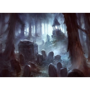 Scary Terrifying Cemetery Graveyard Halloween Party Backdrop Studio Stage Photography Background