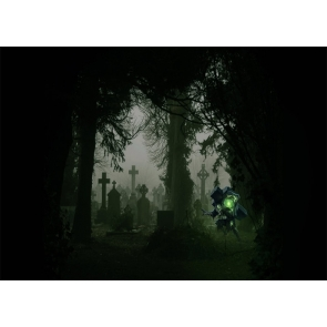 Terrifying Dark Scary Graveyard Cemetery Backdrop Halloween Party Photography Background