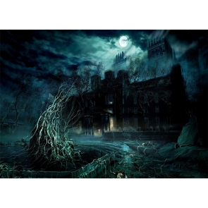 Scary Tree Vine Terrifying Dark Castle Halloween Backdrop Studio Stage Photography Background