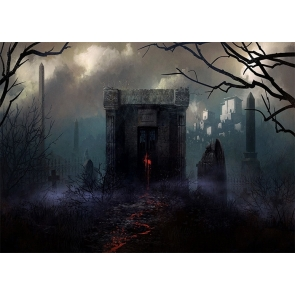 Scary Terrifying Cemetery Graveyard Background Halloween Party Backdrop