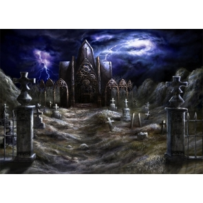 Terrifying Under Lightning Scary Cemetery Graveyard Halloween Backdrop Party Stage Photography Background