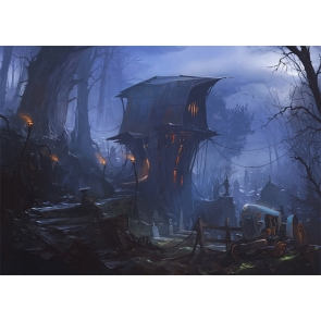 Scary Tree House Terrifying Cemetery Graveyard Backdrop Halloween Party Photography Background