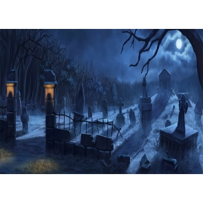 Dark Terrifying Forest Scary Cemetery Graveyard Backdrop Halloween Party Photography Background
