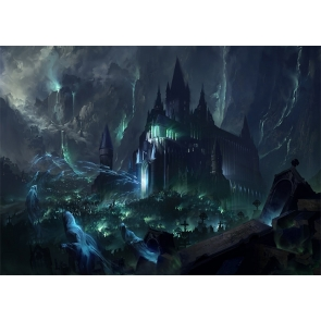 Terrifying Dark Castle Scary Ghost Halloween Backdrop Studio Stage Photography Background