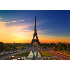 In The Sunset Paris Eiffel Tower Backdrop Party Studio Photography Background