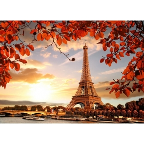 Fall Red Leaves Paris Eiffel Tower Backdrop Party Studio Photography Background