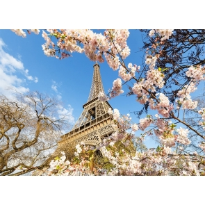 Cherry Blossoms Paris Eiffel Tower Backdrop Studio Stage Photography Background