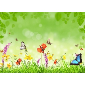 Green Grass Flower Butterfly Baby Shower Backdrop Studio Photography Background