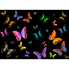 Personalized Black Background Colorful Butterfly Backdrop Studio Party Photography Prop