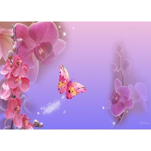 Purple Flower Butterfly Backdrop Baby Shower Wedding Party Photography Background