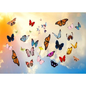 Gold Cloud Colorful Butterfly Backdrop Baby Shower Wedding Party Photography Background