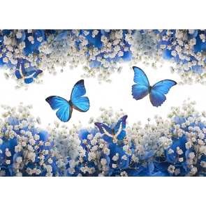 White Flower Blue Butterfly Backdrop Baby Shower Wedding Party Studio Photography Background