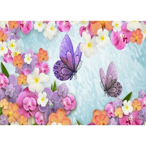 Colorful Flower Butterfly Backdrop Baby Shower Wedding Party Photography Background