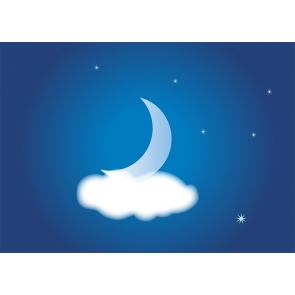 Above White Cloud Crescent Moon Backdrop Baby Shower Party Photography Background