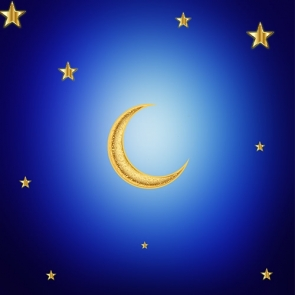 Gold Crescent Moon And Stars Backdrop Baby Shower Wedding Party Photography Background