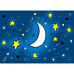 Cartoon Cute Moon And Stars Photo Backdrop Baby Shower Party Photography Background