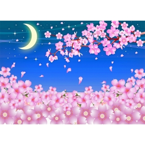 Cherry Blossoms Crescent Moon Backdrop For Wedding Party Photography Background