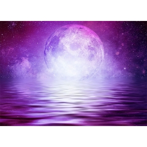 Purple Large Full Moon Backdrop Party Stage Studio Photography Background