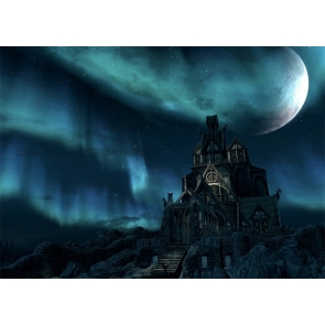 Under The Moon Wizard Wood Castle Halloween Backdrop Party Stage Studio Photography Background