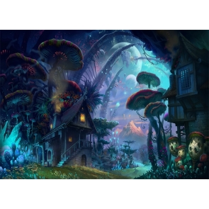 Mushroom Tree House Fores Fairy Tale World Wonderland Backdrop Party Stage Studio Photography Background