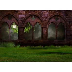 Retro Red Brick Window Grassland Halloween Party Backdrop Stage Photography Background