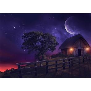 Under The Moon Wood House Halloween Party Backdrop Stage Photography Background