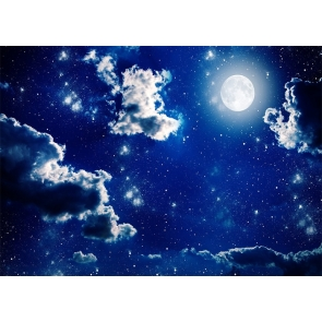 At Night Blue Sky Stars Bright Full Moon Backdrop Party Stage Studio Photography Background