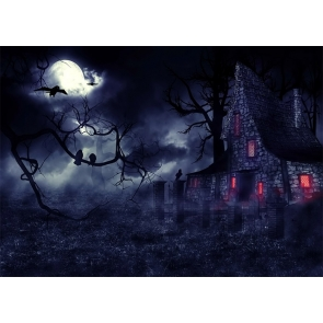 Under The Moon Scary Dark Forest Stone House Halloween Backdrop Party Stage Photography Background