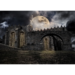 Under The Large Moon Stone Castle Halloween Backdrop Party Stage Photography Background