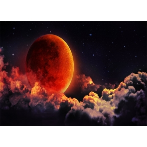 On Cloud Red Large Full Moon Backdrop Party Stage Studio Photography Background